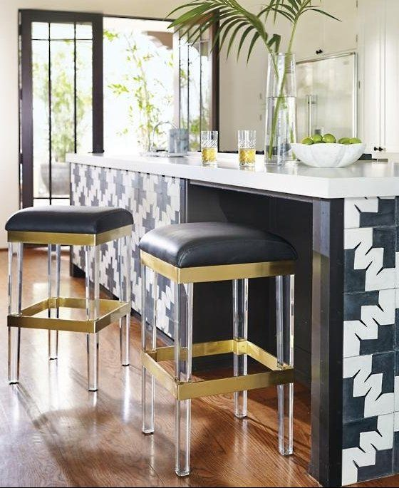 A Modern Masterpiece Of Mixed Materials These Stunning Barstools