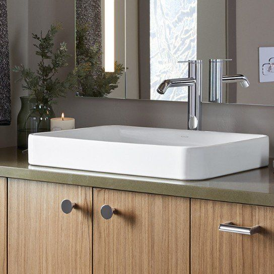 Vox Vitreous China Rectangular Vessel Bathroom Sink With Overflow Bathrooms Remodel Bathroom Furniture Sink