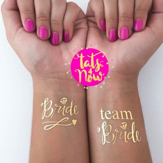 GOLD script team bride  bachelorette party favor  von Tats4now
