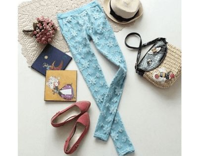 $18 for Women's Lace Candy-Colored Stretchy Slim Leggings - Shipping Included