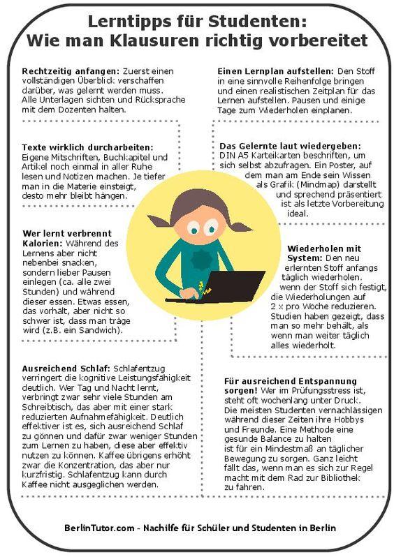 Infografik Lerntipps für Studenten, Prüfungsvorbereitung Studium