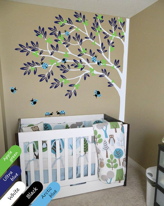 White tree wall decal nursery decor removable for Baby nursery tree mural