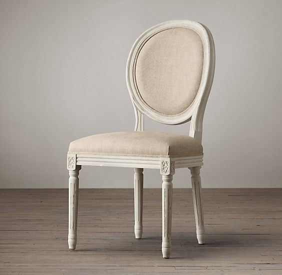 Distressed White Vintage French Round Side Chair Restoration Hardware But