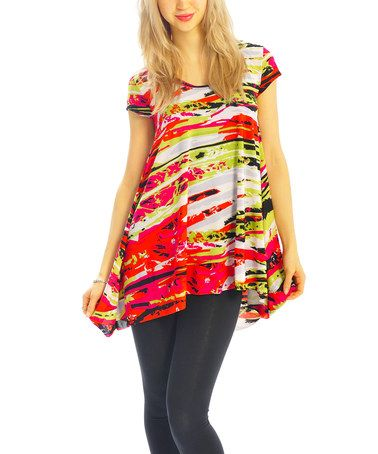 Red & Green Abstract Hi-Low Tunic #zulily #zulilyfinds
