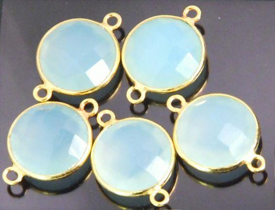 2 piece grade AAA aqua chalcedony gemstone bezel by JWbeads, $6.20
