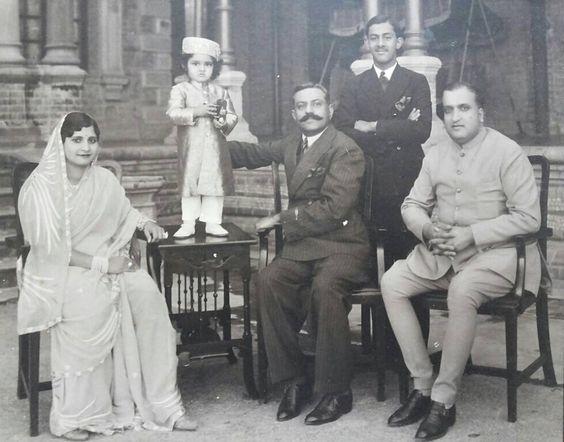 L to R Maharani Taradevi Sahiba of Jammu and Kashmir, Yuvraj Karan singh of Jammu and Kashmir, H.H. Diwan Mahakhan Nawab Sir Taleymohammadkhanji Saheb Bahadur Of Palanpur, Nawabzada Iqbalmohammadkhanji Saheb Of Palanpur, H.H. Shriman Rajeshwar Maharajadhiraj Sir Harisinghji Saheb Bahadur Of Jammu and Kashmir By Rohit Sonkiya