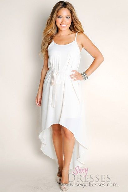 Cute Ivory White Endless Summer Flowy Solid Color High Low ...