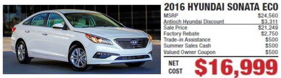 www.cleanmpg.com/community/index.php?threads/53445  07/09/2016 - 2016 Hyundai Sonata Eco for just $16,999!  There is a deal out there for this exact model and it is very tempting.  Efficient long distance traveler - CleanMPG