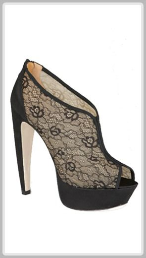 Bootie with a curved heel and sheer lace upper.