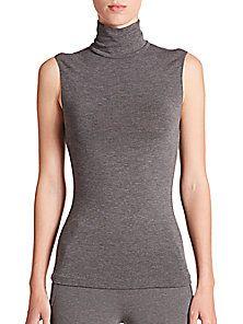 Donna Karan - Jersey Sleeveless Turtleneck Top