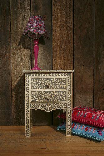 Indian Bone Bedside Table with lamp_cushions http://www.irisfurnishing.com/Bone-Inlay-Furniture-s/1814.htm