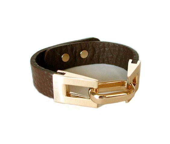 Goldtone link and leather cuff bracelet