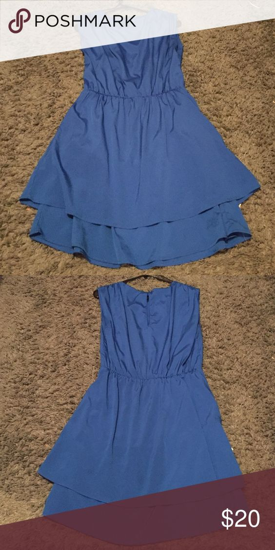Satin dress Deep blue with split in the back Dresses