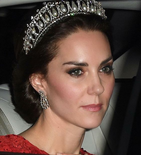 "*CATHERINE THE DUCHESS OF CAMBRIDGE ~ wearing Princess Diana's Tiara, "" The Cambridge Knot-Queen Mary tiara."