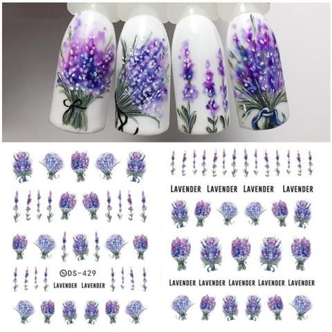 Lavender Flower Water Decals Purple Blooming Flower Nail Sticker Flamingo Nail Art Decals Nail Art Trans Simple Nail Art Designs Lavender Nails Spring Nail Art