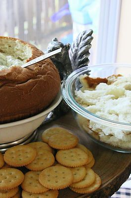 Spinach Dip in Bread Bowl | Great Outdoors Baby Shower | South Texas wedding & event planning