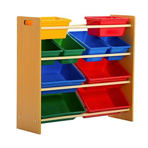 Mecor Kids Toy Bin Storage Organizer Box Shelf Drawer 12 Extra Large 4 Color Plastic Bins Kids Bedr Childrens Storage Boxes Playroom Shelves Toy Bin Organizer