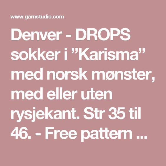 "Denver - DROPS sokker i ""Karisma"" med norsk mønster, med eller uten rysjekant. Str 35 til 46. - Free pattern by DROPS Design"