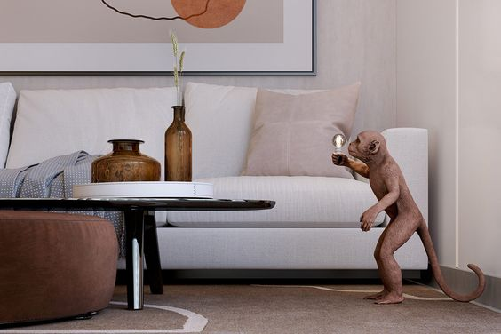 An Alluring Apartment Full Of Playful Monkeys And Copper Accents
