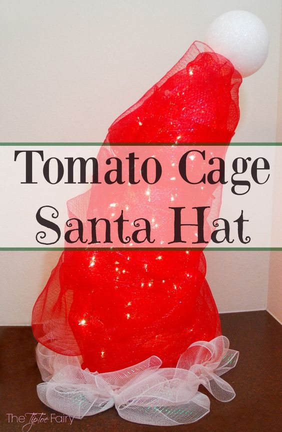 DIY Santa Hat Tomato Cage Christmas Decor - an easy yard art display! | The TipToe Fairy: