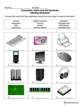 Printables Parts Of A Computer Worksheet computers and worksheets on pinterest parts of a computer worksheet for grades 3 6
