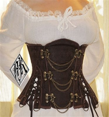 Steampunk Brown Brocade And Chains Underbust Corset