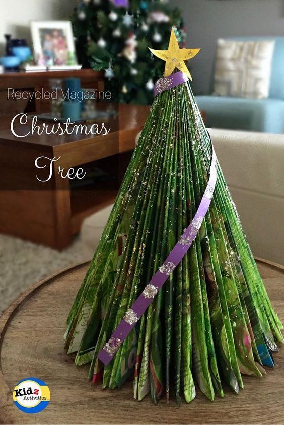 Recycled Magazine Christmas Tree - Kidz Activities