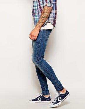 Enlarge ASOS Extreme Super Skinny Jeans In Mid Wash | ||| JEANS