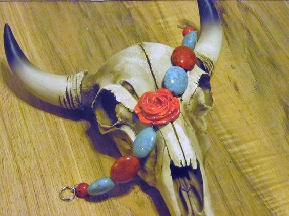 Gypsy Cowgirl Chic Shabby Polymer Clay Red Rose Western Statement Bracelet OOAK…