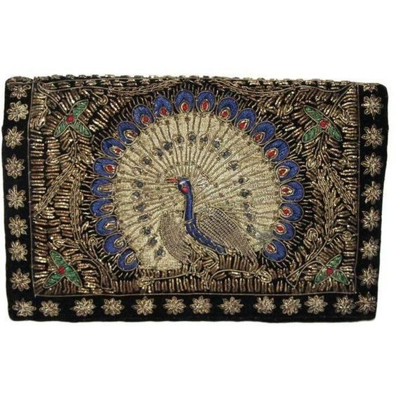 Preowned Unique & Gorgeous Peacock Clutch Of The 30 featuring polyvore, women's fashion, bags, handbags, clutches, black, velvet clutches, pre owned handbags, embroidered purse, peacocks handbags and vintage clutches