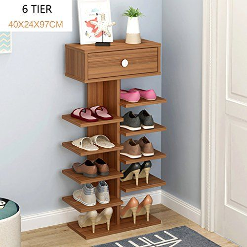 Mago Small Narrow Shoe Rack Stand Wooden Brown Storage Sh Https