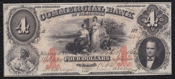 4 Dollars The Commercial Bank of Wilmington State of North Carolina 1862 | eBay