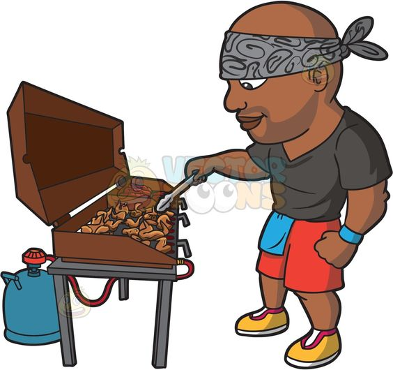 A Black Man Grilling Chicken Wings And Baby Back Ribs :  A bald black man wearing a gray with printed black swirls bandana tied around his forehead gray shirt red with sky blue colored shorts blue band around his left wrist yellow with red and white shoes smirks while holding a stainless pair of thongs in his right hand while grilling chicken wings and baby back ribs on a brown barbecue LPG pit with lid  The post A Black Man Grilling Chicken Wings And Baby Back Ribs appeared first on…