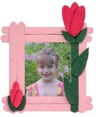 Craft Stick Rosebud Picture Frame