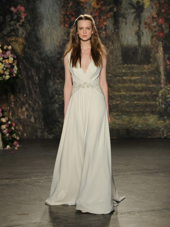 Jenny Packham folded bodice plunge v-neck wedding dress with beaded waist from Spring 2016: