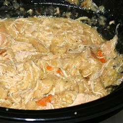 Easiest slow cooker recipe:  Chicken and Dumplings     *   4 skinless, boneless chicken breast halves      * 2 tablespoons butter      * 2 (10.75 ounce) cans condensed cream of chicken soup      * 1 onion, finely diced      * 2 (10 ounce) packages refrigerated biscuit dough, torn into pieces    Yumm!