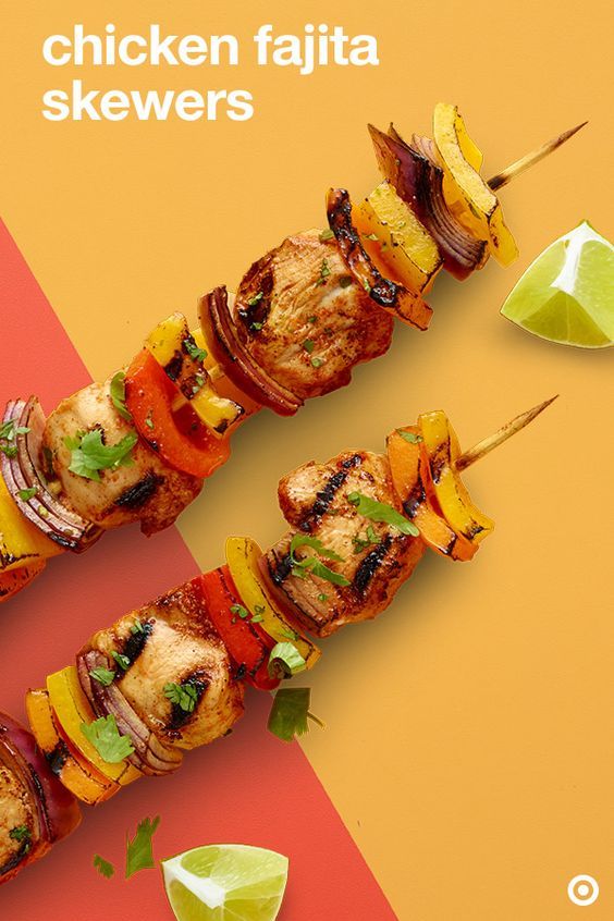 Mouthwatering Chicken Fajita Skewers. Covered with a medley of pepper ...