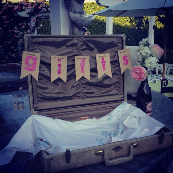 Bridal Shower Party Decoration Idea For Gift Table Empty Suitcase Labeled GIFTS Great Idea For