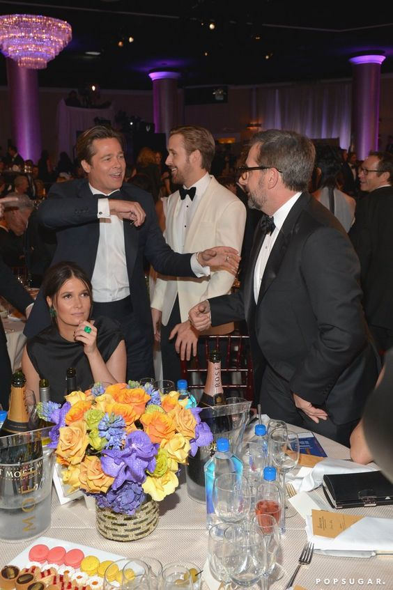 Pin for Later: 26 of the Cutest Candids From Inside the Golden Globes Brad Pitt, Ryan Gosling, and Steve Carell had a ball at their table.