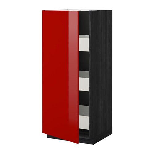 IKEA - METOD / FÖRVARA, Mobile alto con cassetti, effetto legno nero, Ringhult lucido rosso, , Il cassetto FÖRVARA si può estrarre fino a ¾ della sua profondità ed è molto capiente.Puoi scegliere di montare l'anta a destra o a sinistra.Struttura di mm 18 di spessore.Le cerniere si montano senza bisogno di viti sull'anta e ti permettono di togliere facilmente quest'ultima quando devi pulire il mobile.
