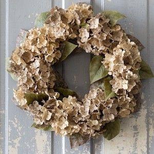 Burlap Hydrangea Wreath   Faux Hydrangea Wreath   Door Wreaths   Fall Wreaths