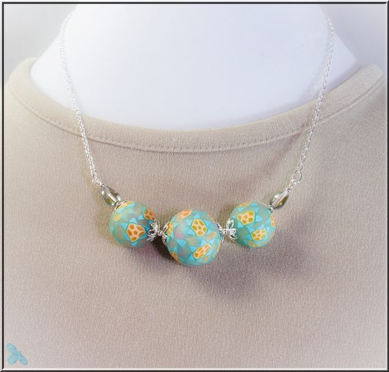 Polymer Clay Floral Cane Necklace