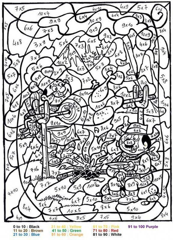 Printable Color by Number for Adults   CHARACTERS Color by Number coloring pages - BBQ color by number #mathforadults