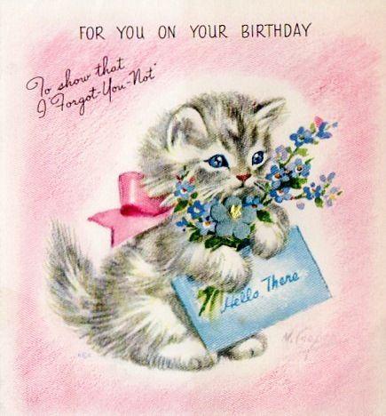 Marjorie Cooper kitten birthday card