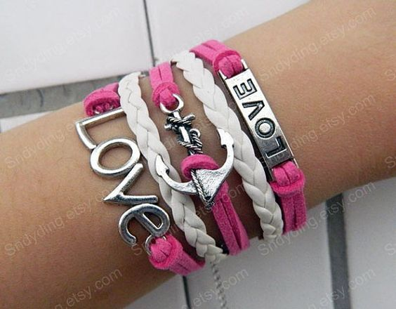 Pink and white leather bracelet love bracelet antique by Colorbody, $10.99