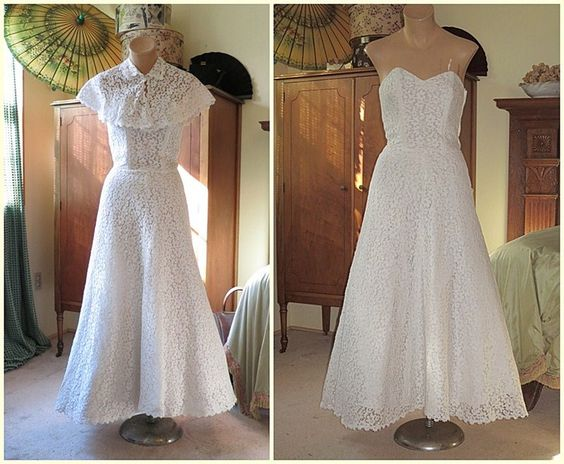 1940s Stapless White Lace Gown with Capelette - $150.00 - http://www.dandelionvintage.com/6e.html