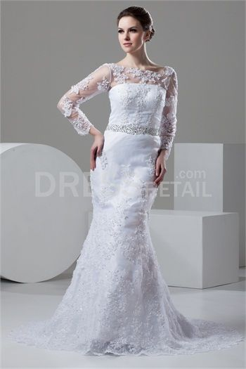 White Mermaid/Trumpet Bateau Court Train Lace Wedding Dress With Beading Appliques