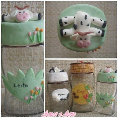 Vidro para leite em pó, decoração em biscuit