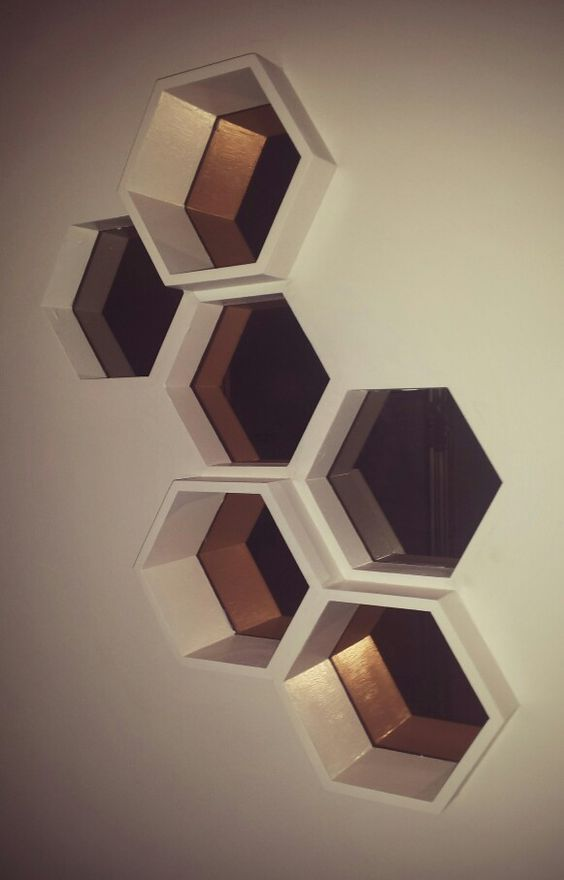 Ikea hack honeycomb shelf with h nefoss mirror dear for Mirrored box shelves