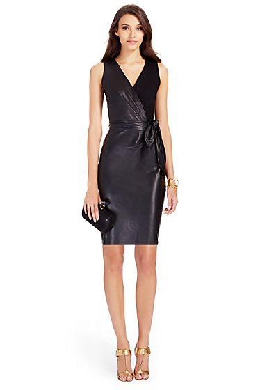 DVF Bella Leather Sheath Dress In Black | Fall/Winter 2015 ...